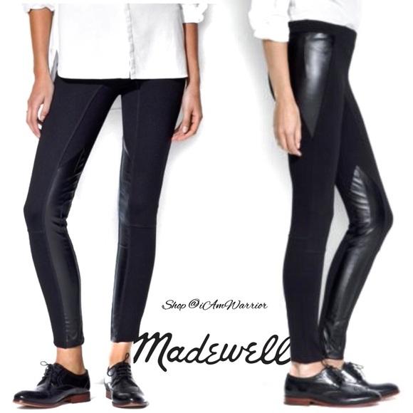 0f23c7564b15de Madewell Pants | Black Faux Leather Panel Leggings | Poshmark